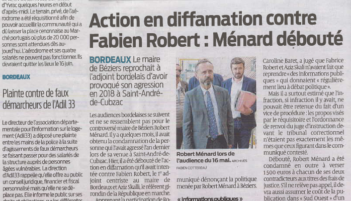 great quality amazing selection most popular Article Sud Ouest 6 juin 2019 : Action en diffamation contre ...